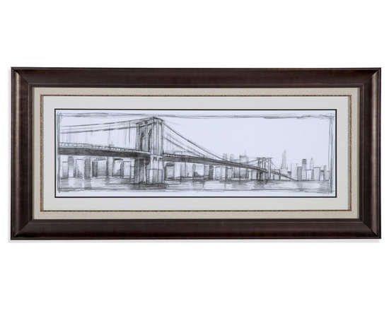 Bassett Mirror - Bassett Mirror Framed Under Glass Art, Brooklyn Bridge Sketch - This very large framed sketch of the iconic Brooklyn Bridge is truly an artist's dream. Display in your home one of the world's most recognizable bridges through the unique perspective of an artist with this rough, yet strikingly sophisticated piece of contemporary art. Its uniquely long shape makes it ideal for hanging above a long sectional, above a bed, or atop a mantle.