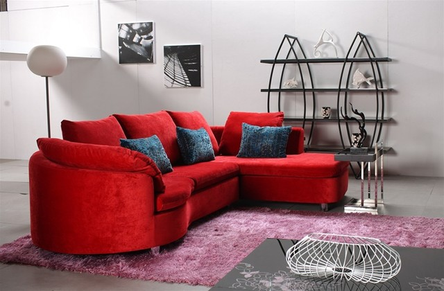 Modern Red Fabric Sectional Sofa Richland Red Fabric Sectional Modern Sectional Sofas