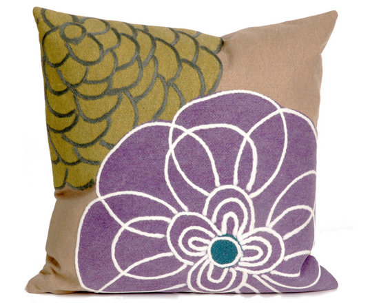 """Trans-Ocean Outdoor Pillows - Trans-Ocean Liora Manne Disco Purple - 20"""" x 20"""" - Designer Liora Manne's newest line of toss pillows are made using a unique, patented Lamontage process combining handmade artistry with high tech processing. The 100% polyester microfibers are intricately structured by hand and then mechanically interlocked by needle-punching to create non-woven textiles that resemble felt. The 100% polyester microfiber results in an extra-soft hand with unsurpassed durability."""