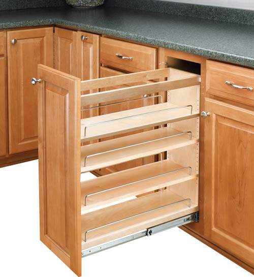 Kitchen Cabinet Organizers Pantry Storage: Pullout Maple Base Cabinet Organizer