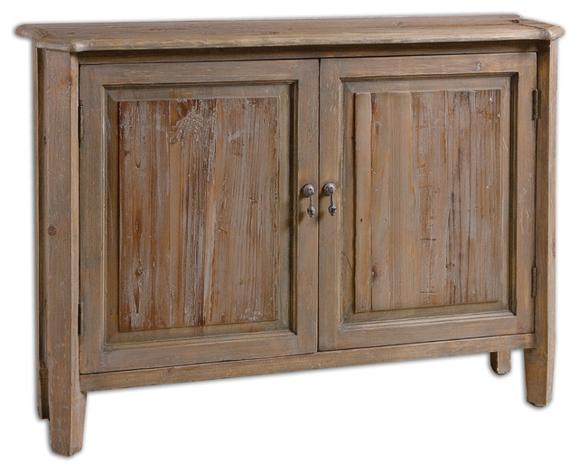 Altair reclaimed wood console cabinet rustic accent chests and cabinets by fratantoni - Sofa table with cabinets ...