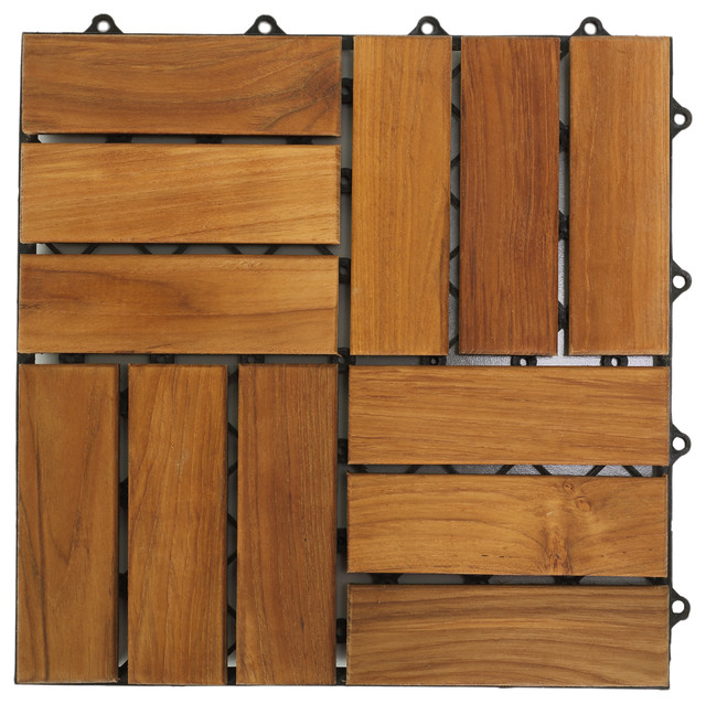 u snap interlocking wood floor tiles in solid teak wood