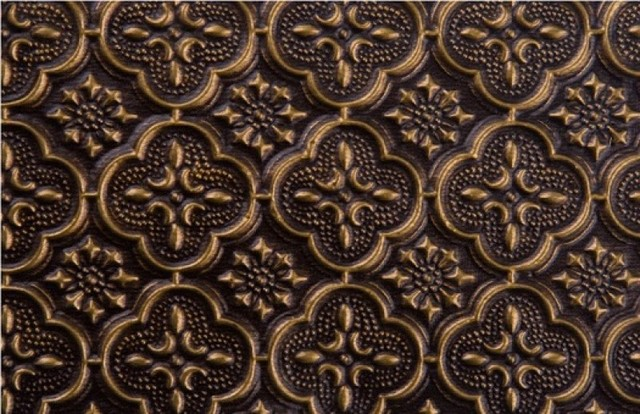WC 20 Faux Tin - Backsplash Roll - (PVC) - 1 1/4  Pattern - Antique Brass  wallpaper