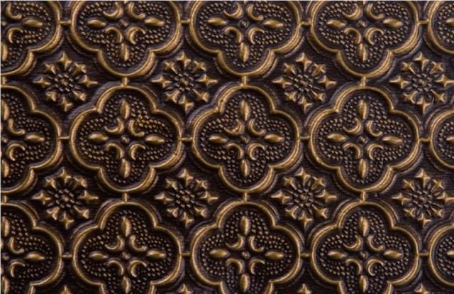 "WC 20 Faux Tin - Backsplash Roll - (PVC) - 1 1/4 "" Pattern - Antique Brass wallpaper"