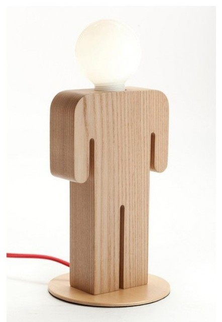 Wooden table lamp unique man 39 s shape design for living for Cool table lamps modern