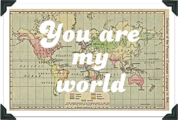 Vintage World Map Print, You are my world by Ex Libris Journals eclectic-artwork