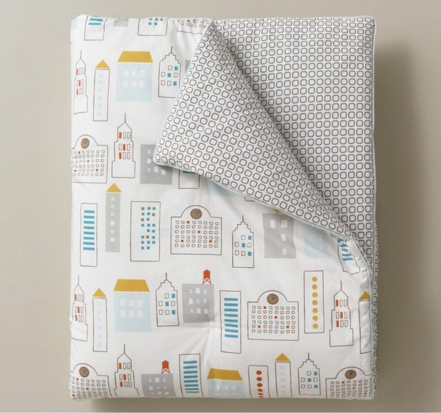 Dwell Studio Skyline Light Blue Play Blanket traditional baby bedding