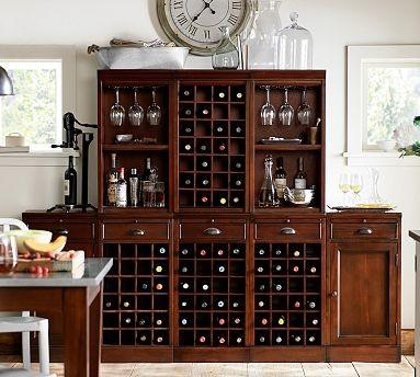 Modular Bar Cabinet, 3 Wine Grid & 2 Cabinet Bases, 2 Open & 1 Wine ...