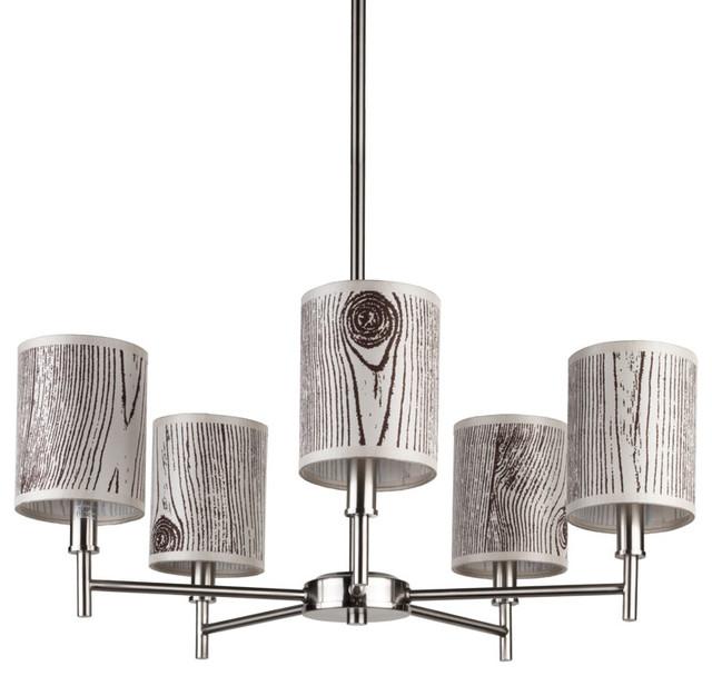 Walker 5 Arm Chandelier -Candle Clip, Brushed Nickel Base, Faux Bois Light modern-chandeliers