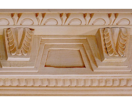 "Inviting Home - Elizabeth Carved Crown Molding - oak wood - red oak hardwood crown molding 5""H x 4-1/4""P x 6-3/4""F x 8'00""L sold in 8 foot length 3 piece minimum order required Hand Carved Wood Molding specification: Outstanding quality molding profile milled from high grade kiln dried American hardwood available in bass hard maple red oak and cherry. High relief ornamental design is hand carved into the molding. Wood molding is sold unfinished and can be easily stained painted or glazed. The installation of the wood molding should be treated the same manner as you would treat any wood molding: all molding should be kept in a clean and dry environment away from excessive moisture. acclimate wooden moldings for 5-7 days. when installing wood moldings it is recommended to nail molding securely to studs; pre-drill when necessary and glue all mitered corners for maximum support."