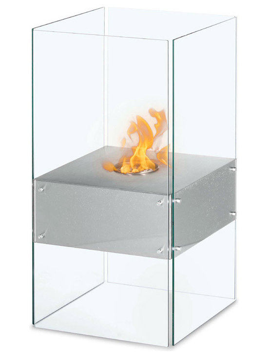 Moda Flame - Cella Free Standing Floor Indoor Outdoor Ethanol Fireplace - The Cella contemporary ethanol fireplace takes a step away from conventional design. The steel shelf seems to levitates beautifully while perching on four tempered glass sheets which protect the dancing flame.