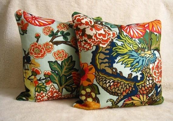 Chiang Mai Dragon Pillows - Aquamarine traditional-decorative-pillows