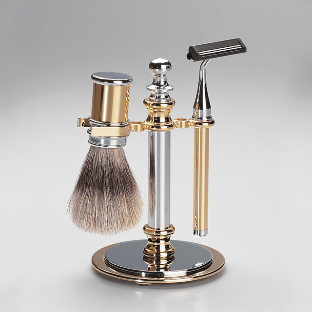 Shaving set in chrome gold contemporary bath and spa for Gold bath accessories sets
