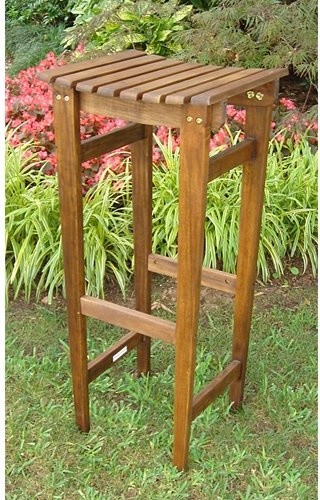 Winston Outdoor Wooden Bar Stool modern-outdoor-stools-and-benches