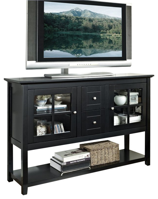 Walker Edison 52 in. Wood Console Table TV Stand in Black - Modern - Entertainment Centers And ...
