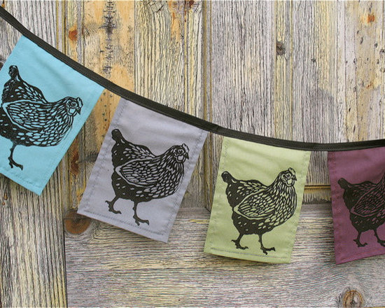 Chicken Flags by Windsparrow Studio, Set of 4 -