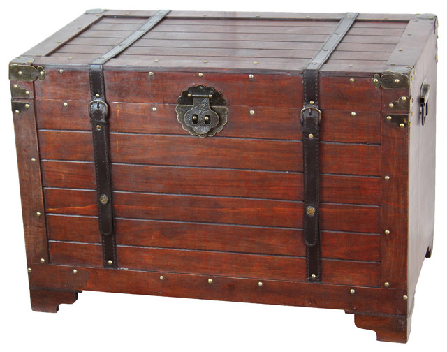 Old Fashioned Wood Storage Trunk Wooden Treasure Hope Chest Rustic Accent Chests And