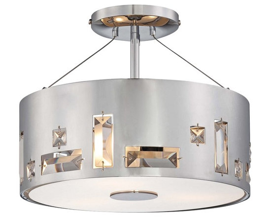 """George Kovacs - George Kovacs Bling Bang 12 1/4"""" Wide Chrome Ceiling Light - Create sparkle and shine with the Bling Bang Collection by George Kovacs lighting. This transitional style semi-flushmount chrome ceiling light is crafted from steel that is perforated and garnished with elegant crystal accents. A clear inside etched glass diffuser ensures warm even lighting. Steel construction. Chrome finish. Teak crystal accents. Clear inside etched glass diffuser. Takes three 100 watt medium base bulbs (not included). 12"""" wide. 9 3/4"""" high.  Steel construction.   Chrome finish.   Teak crystal accents.   Clear inside etched glass diffuser.   Design by George Kovacs.  Takes three 100 watt medium base bulbs (not included).   12"""" wide.   9 3/4"""" high."""