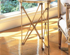 Global Views Directoire Table In Brass And White Marble traditional side tables and accent tables