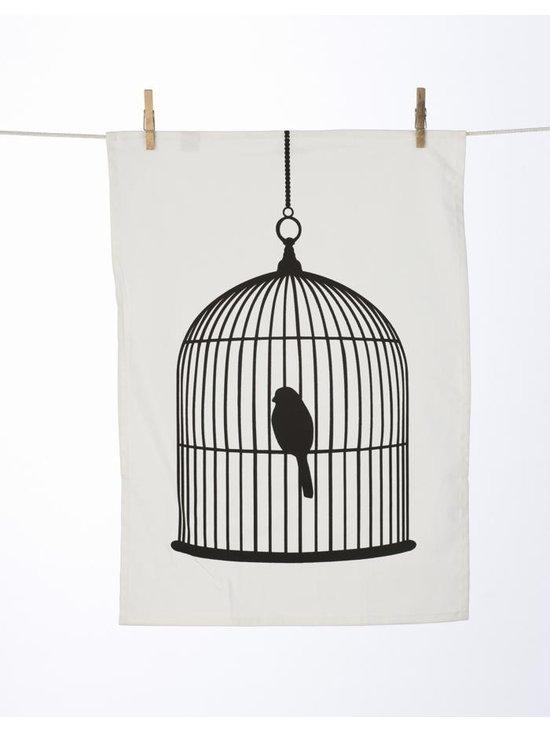Ferm Living Birdcage Tea Towel - The Tea Towels by Ferm Living are fashionable, functional and fabulous. They are printed on 100% organic cotton and will without a doubt make doing the dishes a pleasure.