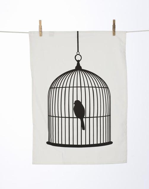 Ferm Living Birdcage Tea Towel modern-towels