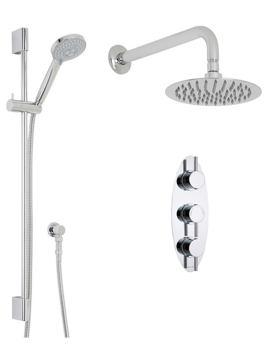 """Hudson Reed - Thermostatic Shower System, 8 Head & Wall Arm & Multi-Function Handset - Shower in style and luxury with the Quest shower system from Hudson Reed, which comes complete with the slide rail kit and shower handset, 8 fixed shower head with arm and the triple thermostatic shower valve. With a solid brass construction for long lasting durability, the British made thermostatic shower valve incorporates ceramic disc technology for smoother control, as well as a built-in anti-scald device for a safer showering experience. Hudson Reed Thermostatic Triple Shower Valve Details   Solid brass rough-in valve Made in Great Britain Serviceable check valves and strainers Ceramic Disc Technology Pre-set maximum temperature 104ºf Automatic anti scald device Recommended pressure for best performance 2 to 75 psi  ½ NPT Inlets and Outlets Compatible with standard US plumbing connections Compatible with combi boilers, gravity fed systems, unvented mains pressure systems and for shower pumps Warranty: 10 years  Hudson Reed 8 Round Shower Head Details   IAPMO Approved 1/2 NPT inlets Chrome finish Easy clean nozzles 9.5L/min 2.5gpm regulator installed Supplied with 13 wall mounted arm  Hudson Reed Linear Slide Rail Details   Chrome finish IAPMO approved Easy to fix Includes multi-function handset  Shower Consists of:     UFG-HR721Triple Valve Body Only Concealed  UFG-HRPS704Triple Oval Trim Plate  UFG-HRH701Round Thermostatic Handle with Lever  UFG-HRH702Round Flow Control Handle with Lever  UFG-HRSK701Linear Slider Rail Kit  UFG-HRFH70159"""" Double Lock  UFG-HRH1981/2 Double Check Valve Connector with DW15 Check Valves  UFG-HROE702Minimalist Outlet Elbow  UFG-HRHS707Multi-Function Handset  UFG-HRSH704Round Fixed Head 8""""  UFG-HRAM701Wall Mounted 13"""""""