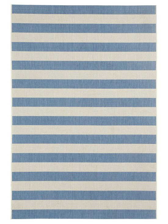 """Finesse Stripe rug in Capri Blue - An esteemed """"Capel Anywhere"""" rug collection woven on precision machine looms in Europe. These versatile rugs can be used in high traffic areas indoors - like kitchens and sunrooms - or to dress up covered porches and decks outside."""