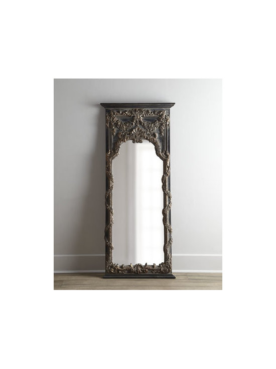 """Horchow - Adalina Mirror - A handcrafted resin and urethane frame with a heavily antiqued gold-leaf finish surrounds this mirror. 29.25""""W x 3""""D x 68.5""""T. Imported. Boxed weight, approximately 53 lbs. Please note that this item may require additional delivery and processing...."""