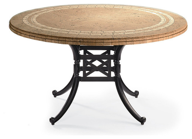 Carlisle Round Mosaic Stone top Outdoor Dining Table in  : traditional dining tables from houzz.com size 640 x 466 jpeg 59kB