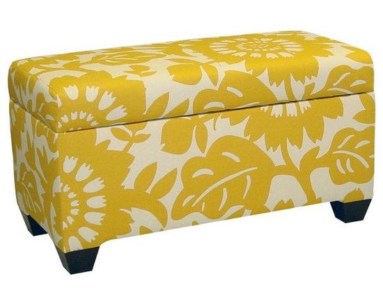 Skyline Canary Print Storage Bench -
