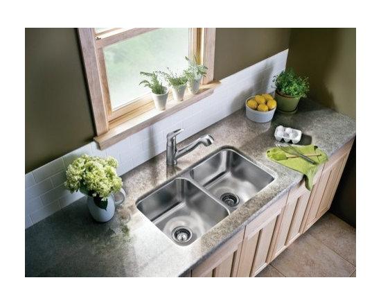 Moen Double Bowl Kitchen Sink - Moen S22396 Lancelot 18 Gauge Double Bowl Undermount Kitchen Sink in Stainless Steel