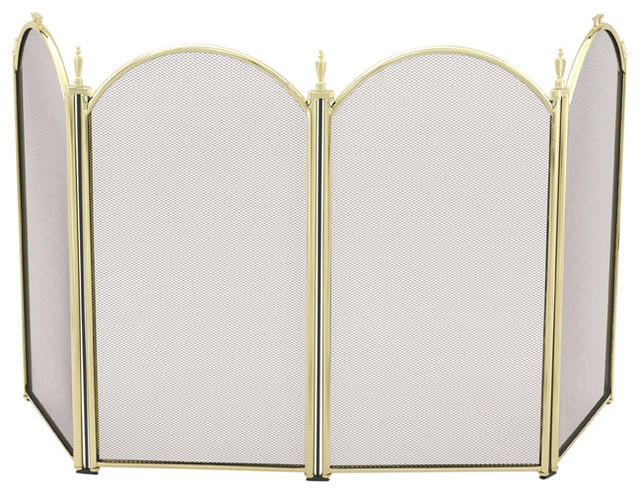 4 Fold 25in. H Mini Polished Brass Screen modern-fireplace-accessories