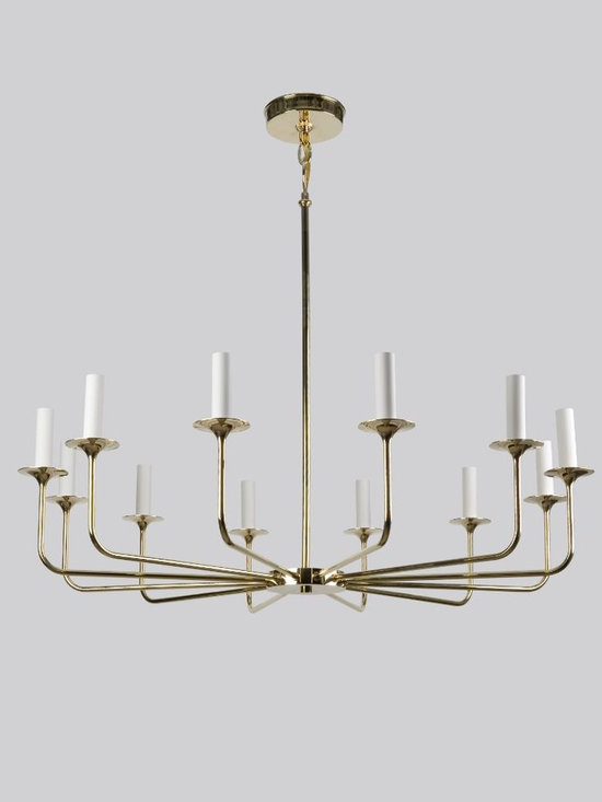 Veronique 12 Chandelier - A French Moderne style twelve-light chandelier with sleek flared arms radiating from a lozenge cluster. The delicate body is suspended from a slender rod and chain.