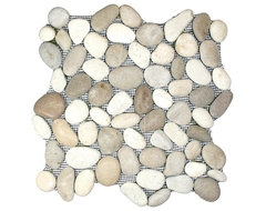 Tan & White Pebble Tile contemporary bathroom tile
