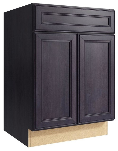 Cardell Cabinets Boden 24 in. W x 34 in. H Vanity Cabinet Only in Ebon Smoke - Contemporary ...