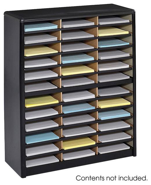 Value sorter literature organizer 36 compartment black - Modern desk accessories and organizers ...