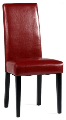 Chintaly Parson Straight Back Side Dining Chair - Red - Set of 2 traditional-dining-chairs