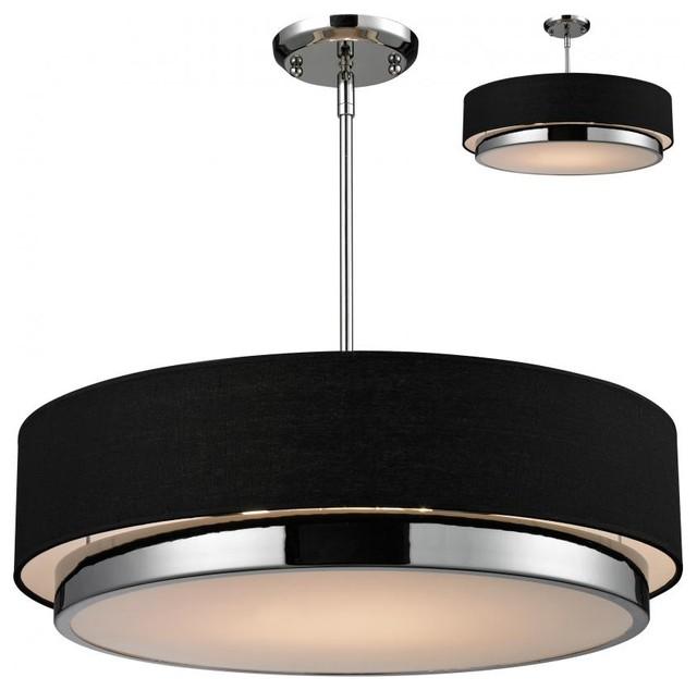 Three Light Chrome Black Shade Drum Shade Pendant Contemporary Pendant Li