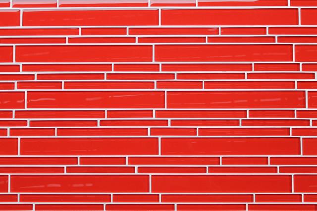 Lantern Red Strip Glass Mosaic Tiles contemporary-mosaic-tile