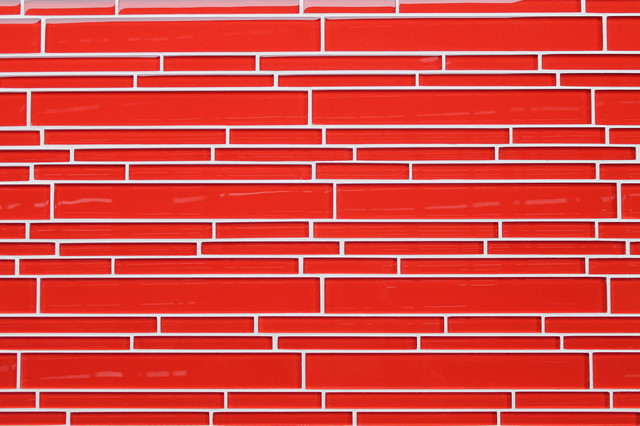Lantern Red Strip Glass Mosaic Tiles contemporary-tile
