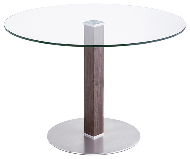 Cafe Brushed Stainless Steel Dining Table With Clear Glass