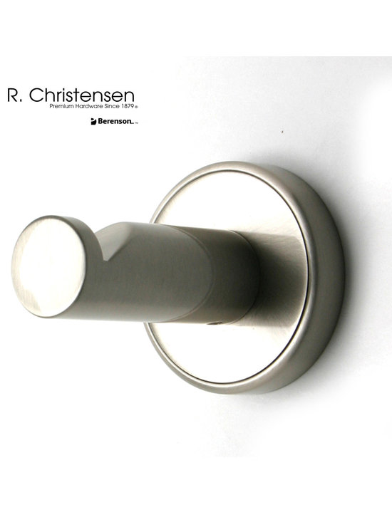2209US15 Brushed Nickel Single Garment Hook by R. Christensen - 2-1/2 inch long contemporary style single garment hook by R. Christensen in Brushed Nickel.