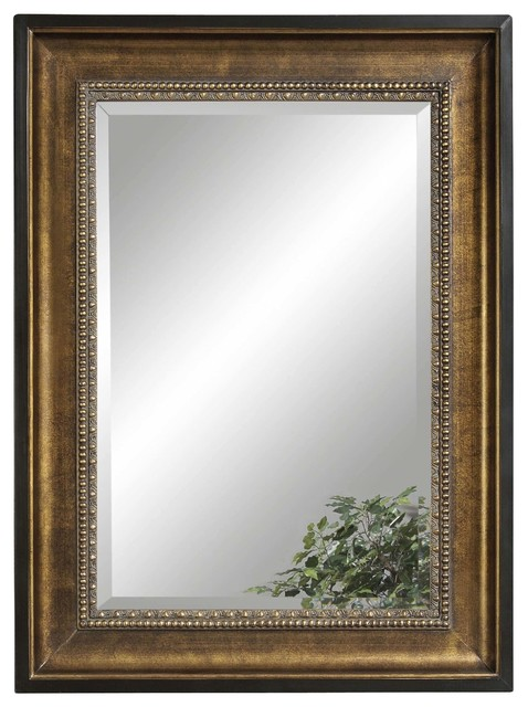 Gold Rectangle Wall Mirror Traditional Mirrors By