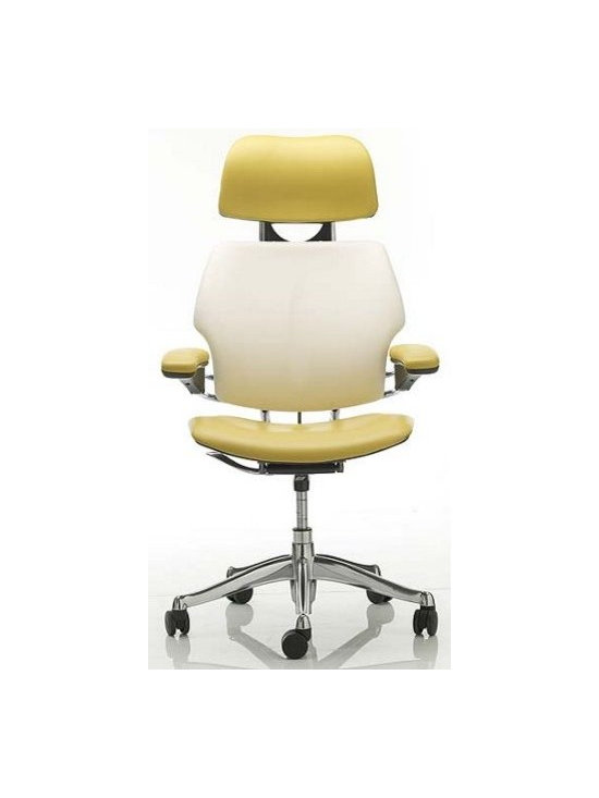 Humanscale - Freedom Task Chair with Headrest in Sabrina Leather - Niels Diffrient's Freedom Chair (1999) was a breakthrough in ergonomic task seating. With a height-adjustable headrest, the Hi Back version offers customized support for the head, allowing for proper eye-level positioning when working long hours at a computer station. The Freedom Chair is designed to fit almost all body types. The seat depth is adjustable to properly support the seat and thighs, while the adjustable back support helps to keep the lumbar region of the body in line. Often, ergonomic chairs are likely to be improperly positioned, resulting in the creation of more problems than they solve. The Freedom Chair is simpler than other chairs, eliminating many manual adjustments and creating instead a system of internal mechanisms that respond to the user's needs. A unique counterbalancing tilt mechanism self-adjusts according to the user's weight and movement, thus eliminating the need for manual fixes. In addition, the chair and seatback can be easily raised or lowered, and the seat itself moves forward or back. Any adjustments can be easily made while the user is seated for accurate positioning. Because of a natural lift-and-release action, the armrests are effortlessly repositioned depending on the task at hand, and unlike other ergonomic chairs, the armrests work in tandem. The seat cushion provides excellent shock absorption and weight distribution for unmatched comfort. Made in U.S.A.