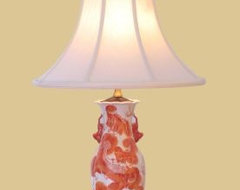 East Enterprises Red Foodog Oriental Table Lamp With Red Finish asian table lamps