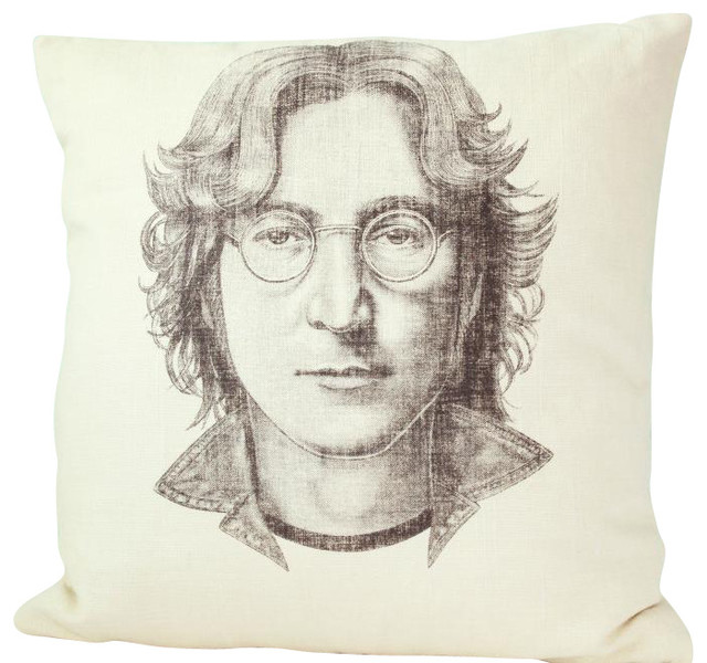 John Lennon Linen Pillow, Accent Pillow midcentury-decorative-pillows