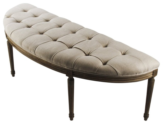 French Country Louis Curved Linen Bench traditional-benches
