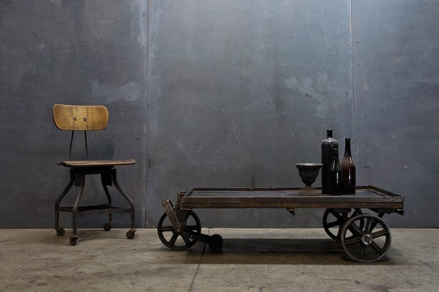 Vintage Industrial Cart Coffee Table eclectic coffee tables