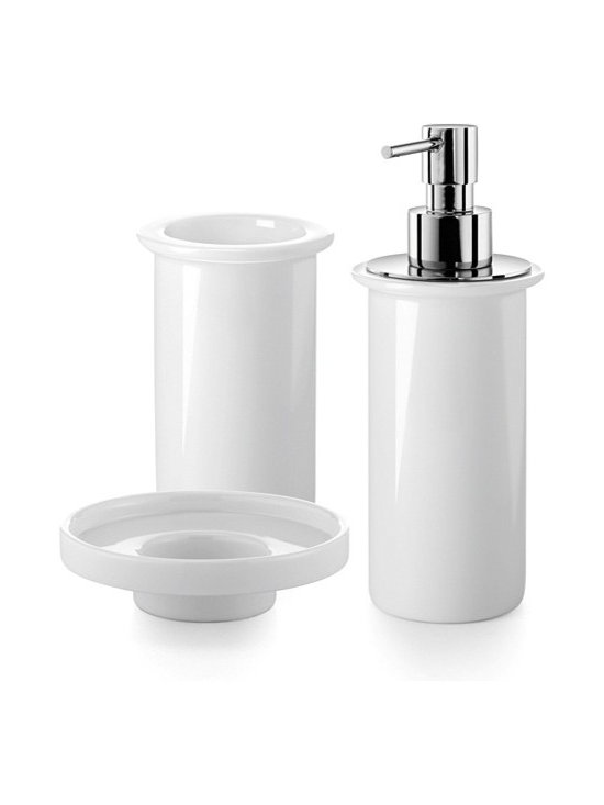 WS Bath Collections - Saon 5500.09 Accessory Set - Saon by WS Bath Set of Tumbler, Soap Dish, and Soap Dispenser in White Porcelain