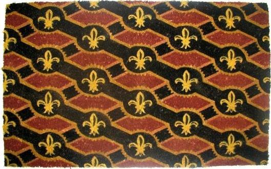 "CocoMatsNMore Fleur De Lis Flag Vinyl Backed Coir Doormats - 22"" X 36"" traditional-doormats"